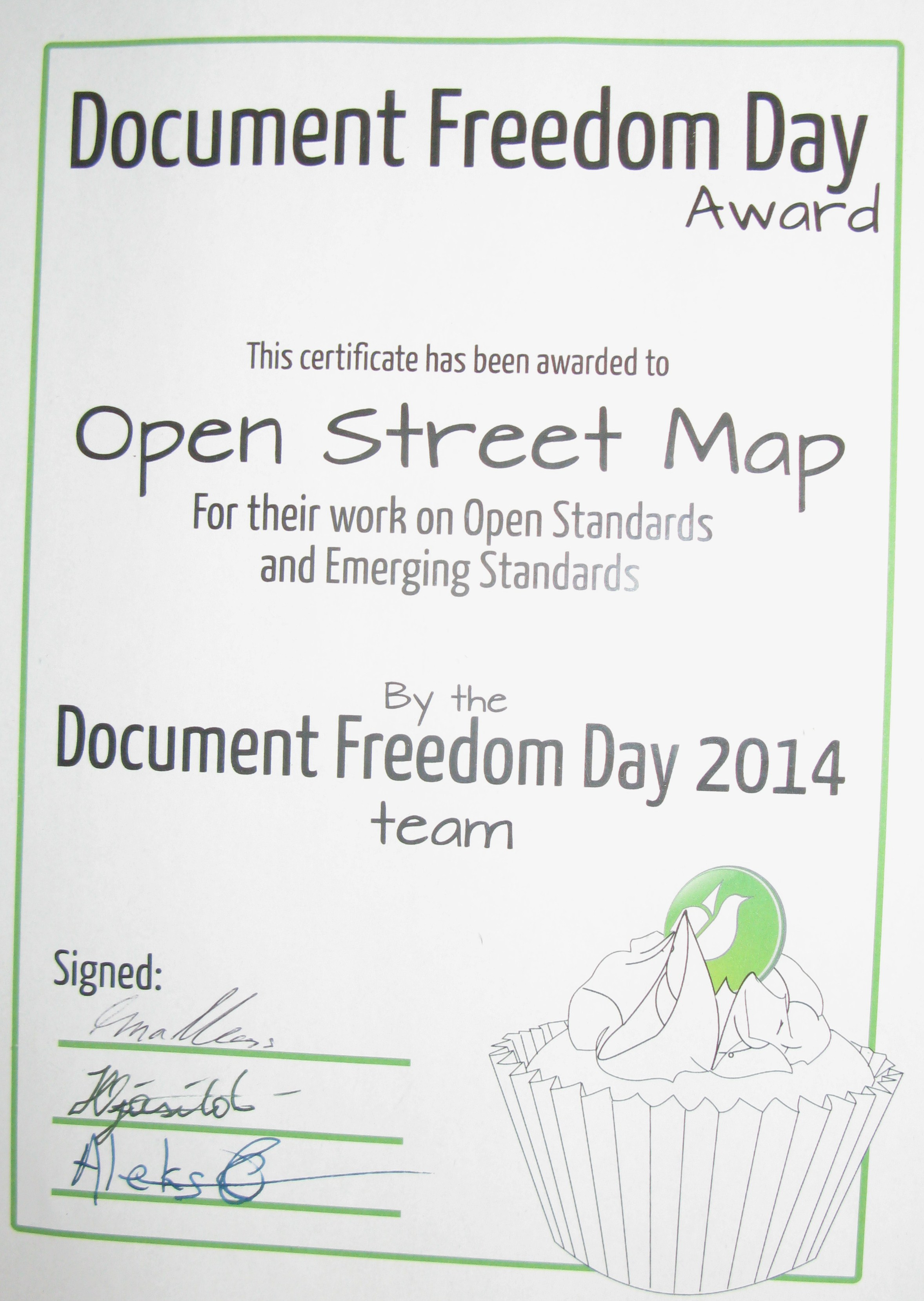 OpenStreetMap recognised by Free Software Foundation Europe with Document Freedom Day Award 2014