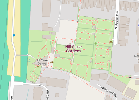 Map of Hill Close Gardens, Warwick