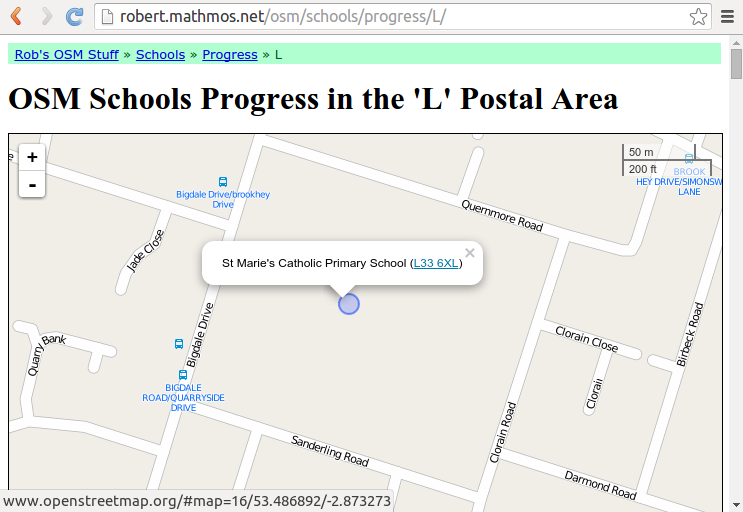 Pick a school to map. The blue circles show missing schools.